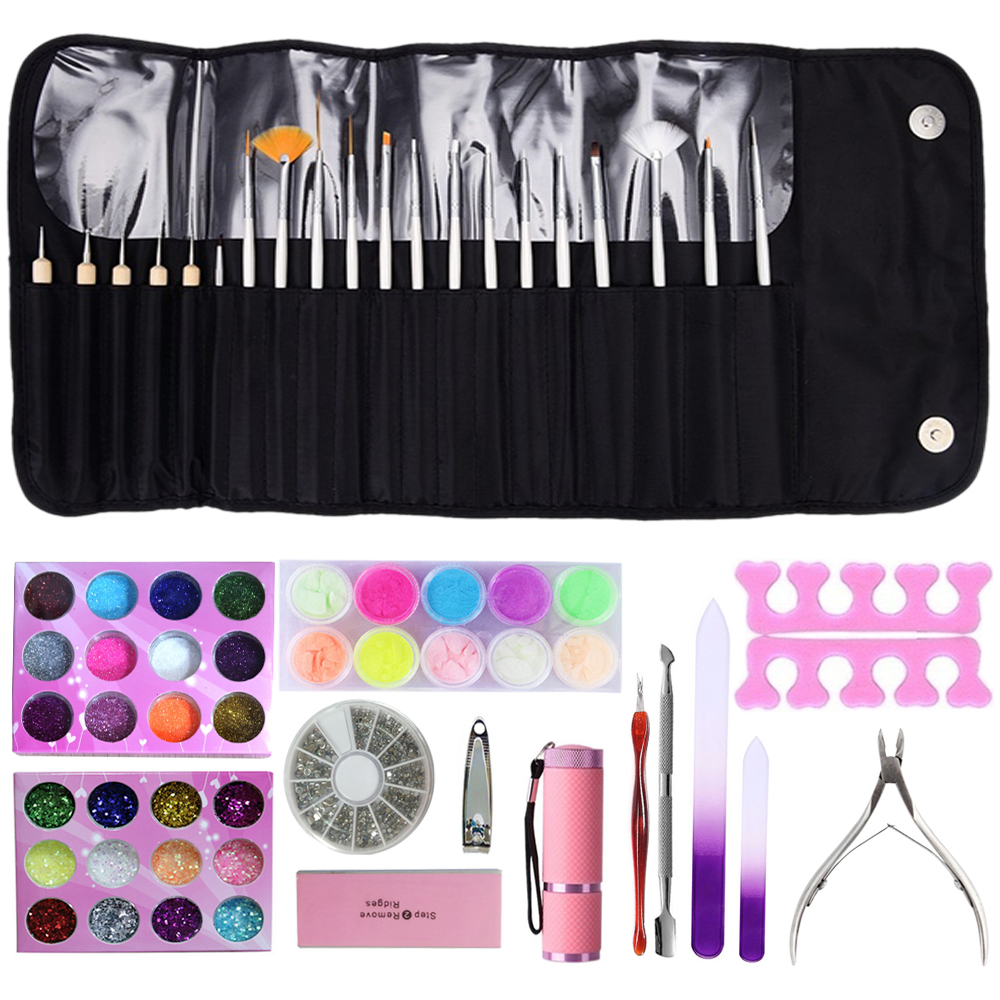 цены News 14pcs Nail Rhinestones Dotting Pen Manicure Beauty Kit 3D Glitter Crystal Decoration Equipment Nail Art Tools Set