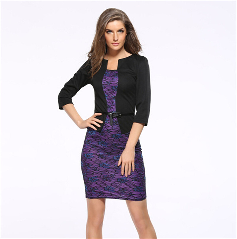Mainland XXXL jednodílná bunda krátký elegantní vzor pracovní šaty kancelář Bodycon žena 3/4 rukáv pouzdro sexy krajkové pracovní šaty
