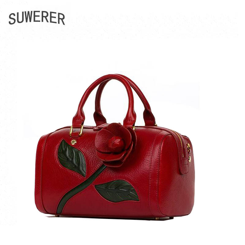 2017 Time-limited New Superior Genuine Leather Boston Bag Three-dimensional Flowers Luxury Handbag Women Bags Designer
