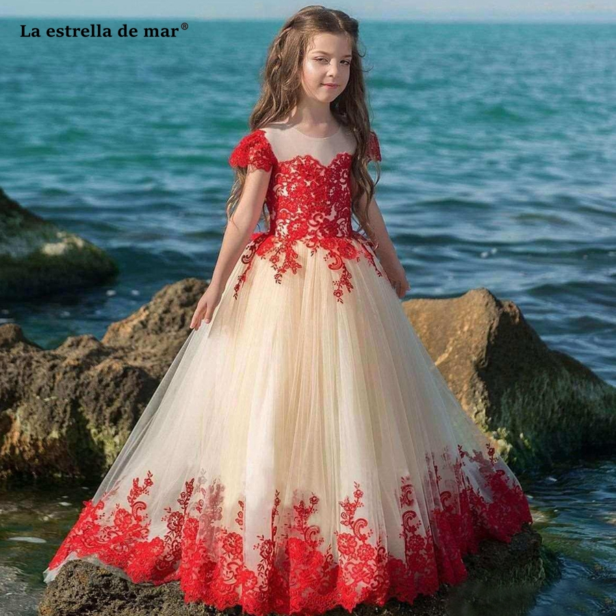 Pageant   dresses   for   girls   2018 new lace O Neck short sleeve a line red   flower     girl     dresses   Trailing plus size vestido comunion