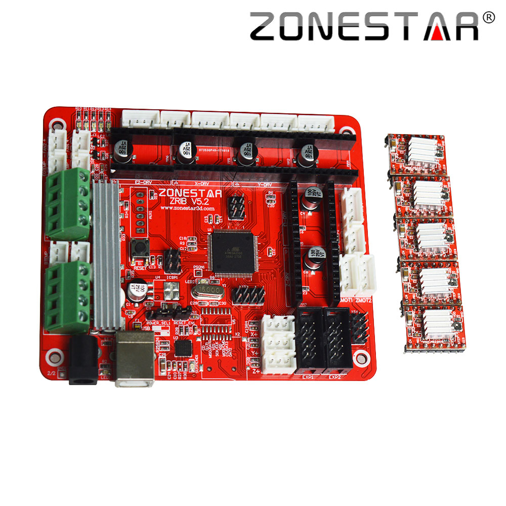 ZONESTAR 3D Printer Controller Control Board Motherboard ZRIB Compatible With Ramps V1.3 V1.4 ATMEGA2560 Support Three Extruder free shipping factory directly selling extruder controller 2 2 control module board motherboard for 3d printer