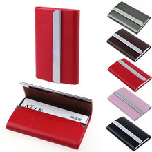 New Genuine Leather Unisex Business Card Holder Id Card Holder Case Wallet Box Holder Aluminium Women Purse(China)