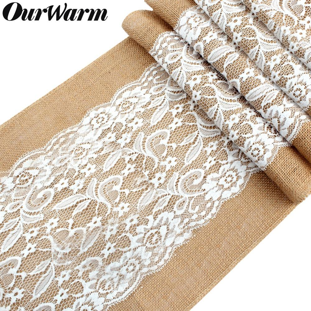 OurWarm Natural Burlap Table Runner For Wedding Decoration 108cmx30cm Luxury Lace Crochet Jute Linen Table Runners