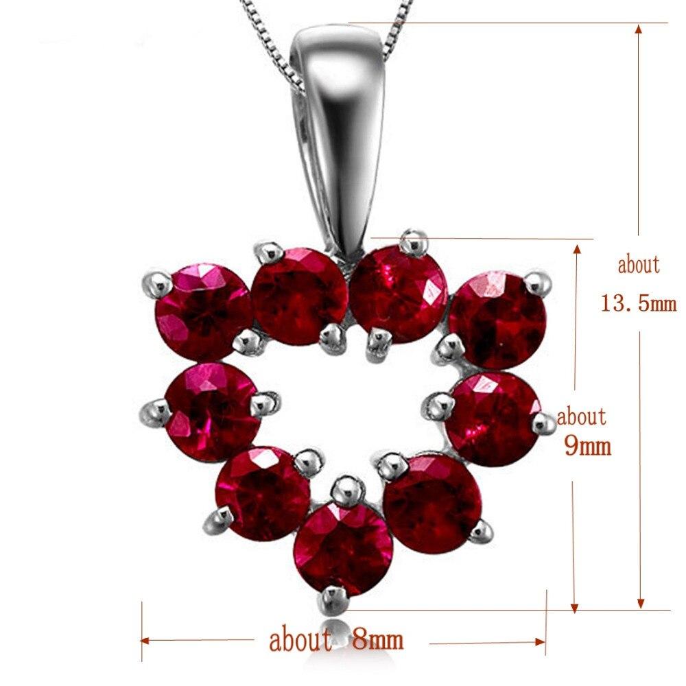 С натуральным красным Рубином драгоценный камень-подвеска 18 K кулон из белого золота для женщин ювелирные изделия любовь прекрасное сердце ювелирные изделия подарок на день Святого Валентина