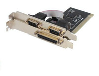 PC Computer PCI TO 1 Port Printer Parallel Port LPT Female 2 Port RS232 COM Serial