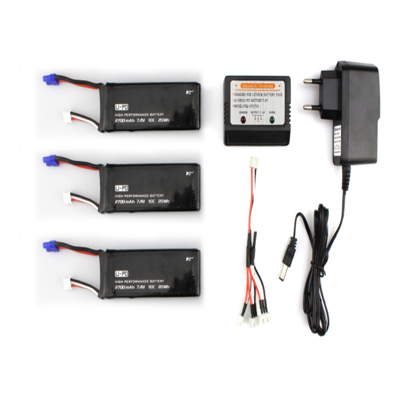 ФОТО 3 x 7.4V 10C 2700mAh Battery & Charger Set For Hubsan H501S X4 RC Quadcopter