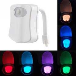 Туалет ночник светодио дный Светодиодная лампа Smart ванная комната человеческого движения Активированный PIR 8 цветов Автоматическая RGB