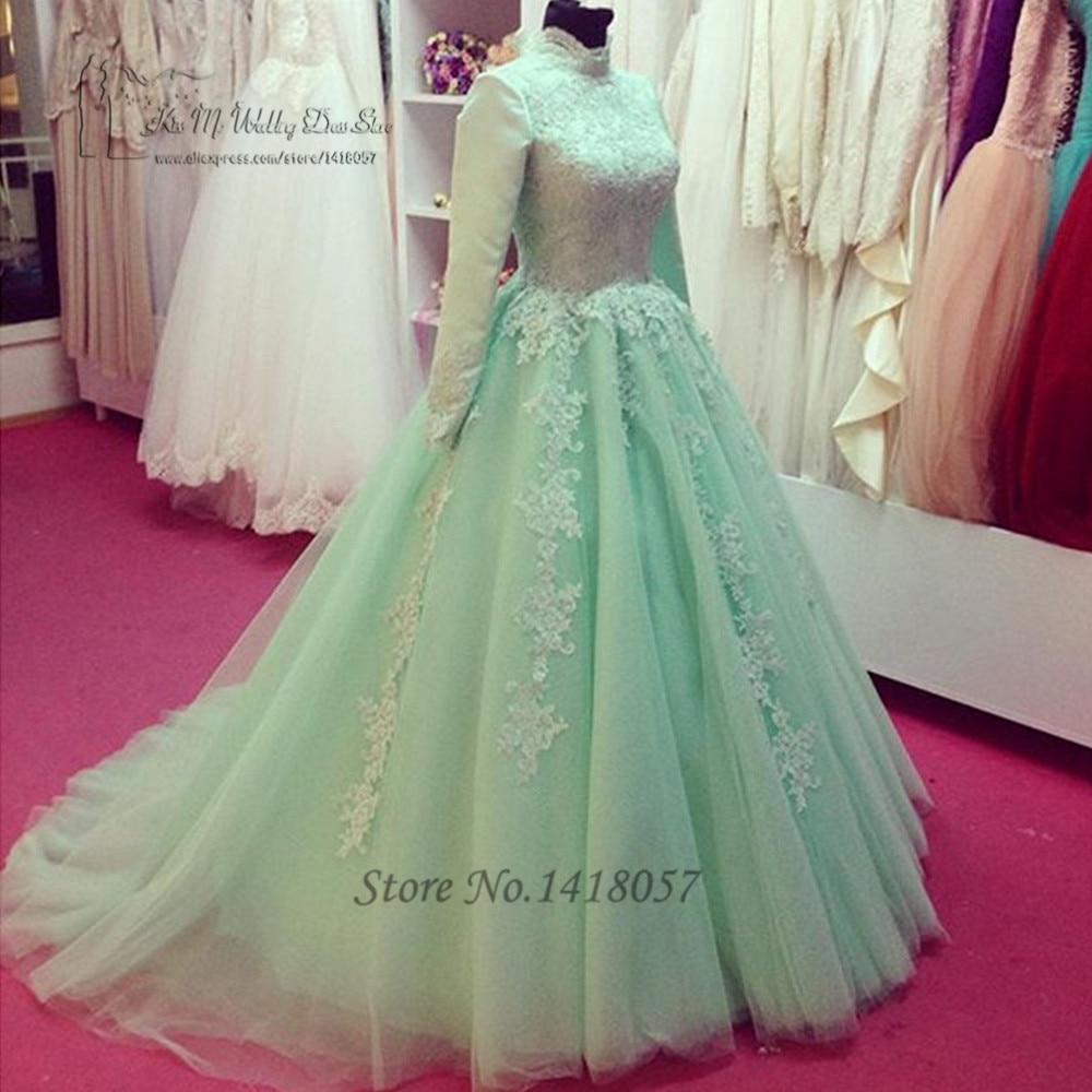 Vintage Wedding Dresses Michigan: Green Vintage Long Sleeve Muslim Wedding Dress Lace Ball