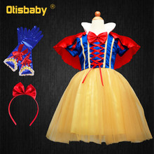 цены HOT Summer Girls Snow White Princess Dresses for Kids Baby Girl Cosplay Costume Birthday Clothes Children's Party Dress Clothing