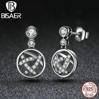 Bisaer эксклюзивный Дизайн круглый Форма 100% стерлингового серебра 925 ажурные Femme серьги ювелирные изделия HSE013