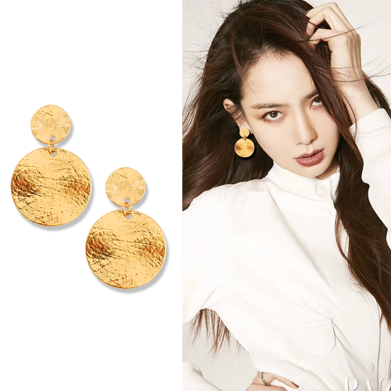 Metal Textured Round Disc Clip Earrings Without Piercing Statement Geometric Big Circle Earrings No Pierced hole beads big round circle shape geometric drop earrings