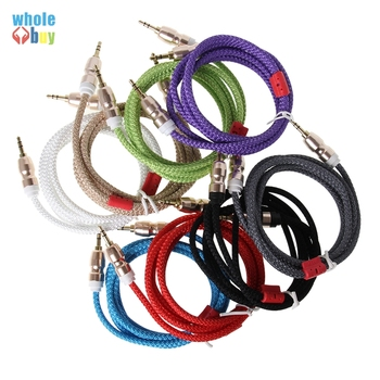 500pcs/lot  Wholesale Audio Cable 3.5 Mm Male To Male Wollens Thick Wool Fabric Cloth Aux Cable for Iphone Samsung DVD Aux Cord
