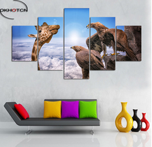 Giraffe Eagle Wild Animals Painting HD Prints Pieces Modular For Living Room Decor Canvas Wall Art Pictures Home Poster