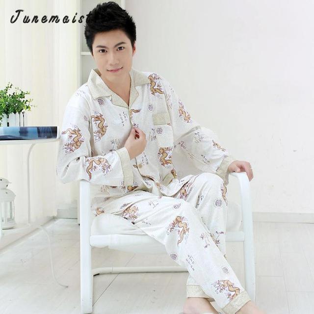 Мужчина лето с длинными рукавами шелковой пижамы домашняя одежда пижамы 2016 роскошный Пижама мужская одежда повседневная печать набор гостиная