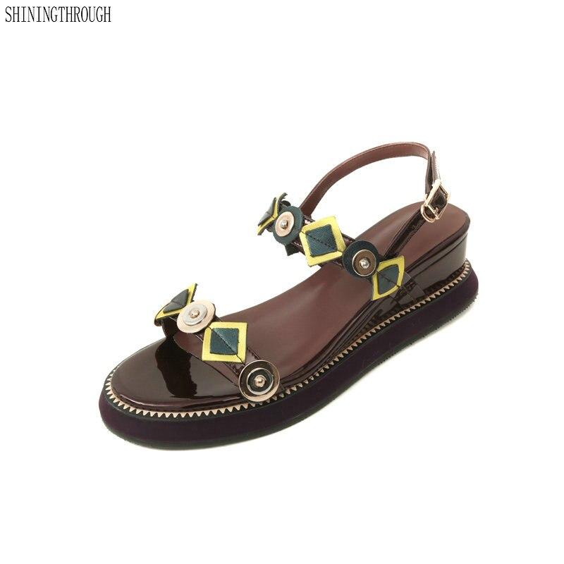Women Genuine Shoes wedges high heels sandals Simple Style metal Decoration Summer 2018 New Arrival Ladies