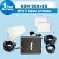 3G de alta Ganancia GSM 900 WCDMA 2100 MHz repetidores de señal de teléfono celular amplificador de señal móvil de Refuerzo receptor + antenas para 2 pisos