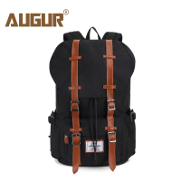 AUGUR Nylon Unisex Backpack Leather Belt Waterproof Backpacks For Male Female School Bag Larger Capacity Travelling Laptop Bag