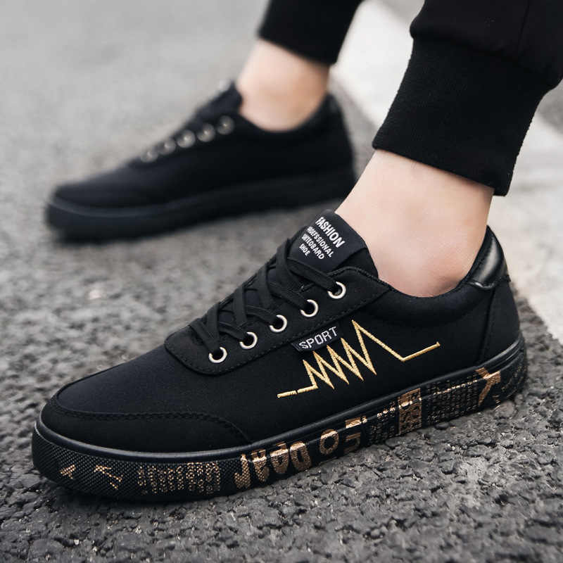 4fb5b2700a0f8 Fashion Printed Canvas Shoes Men Sneakers Low top Black Shoes Lace-up Men's  Casual Flats Shoes Male Brand Canvas Sneakers
