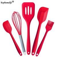 Kitchenware 5Pcs Set Silicone Pastry Cooking Baking Scraper Sets Basting Brush Spatulas Kitchen Utensils Set B5