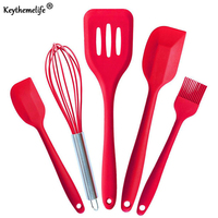 Kitchenware 5Pcs Set Silicone Pastry Cooking Baking Scraper Sets Basting Brush Spatulas Kitchen Utensils Set B5