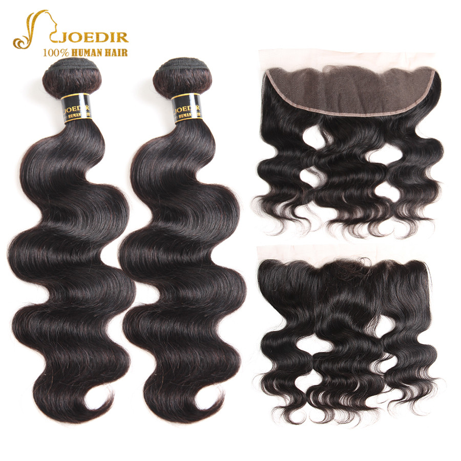 Joedir Brazilian Body Wave With Lace Frontal Closure Human Hair Bundles With Lace Frontal 2 Bundles With Frontal Non Remy