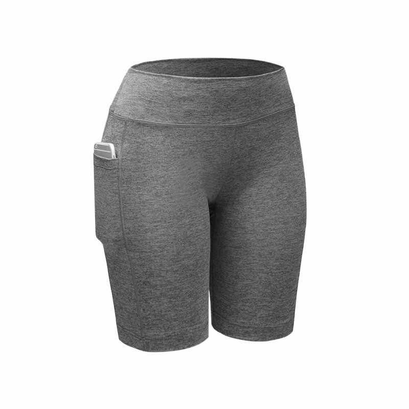 666f1dc61d81fe Quick Dry Women Compression Shorts Elastic Running Fitness Gym Shorts With  Pocket Feminino Fitness Workout Shorts