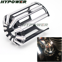 Motorcycle Oil Filter Machine Grid Cover Black Cast Chrome CNC Aluminum For Harley Touring Softail Dyna CVO Fatboy FXSB