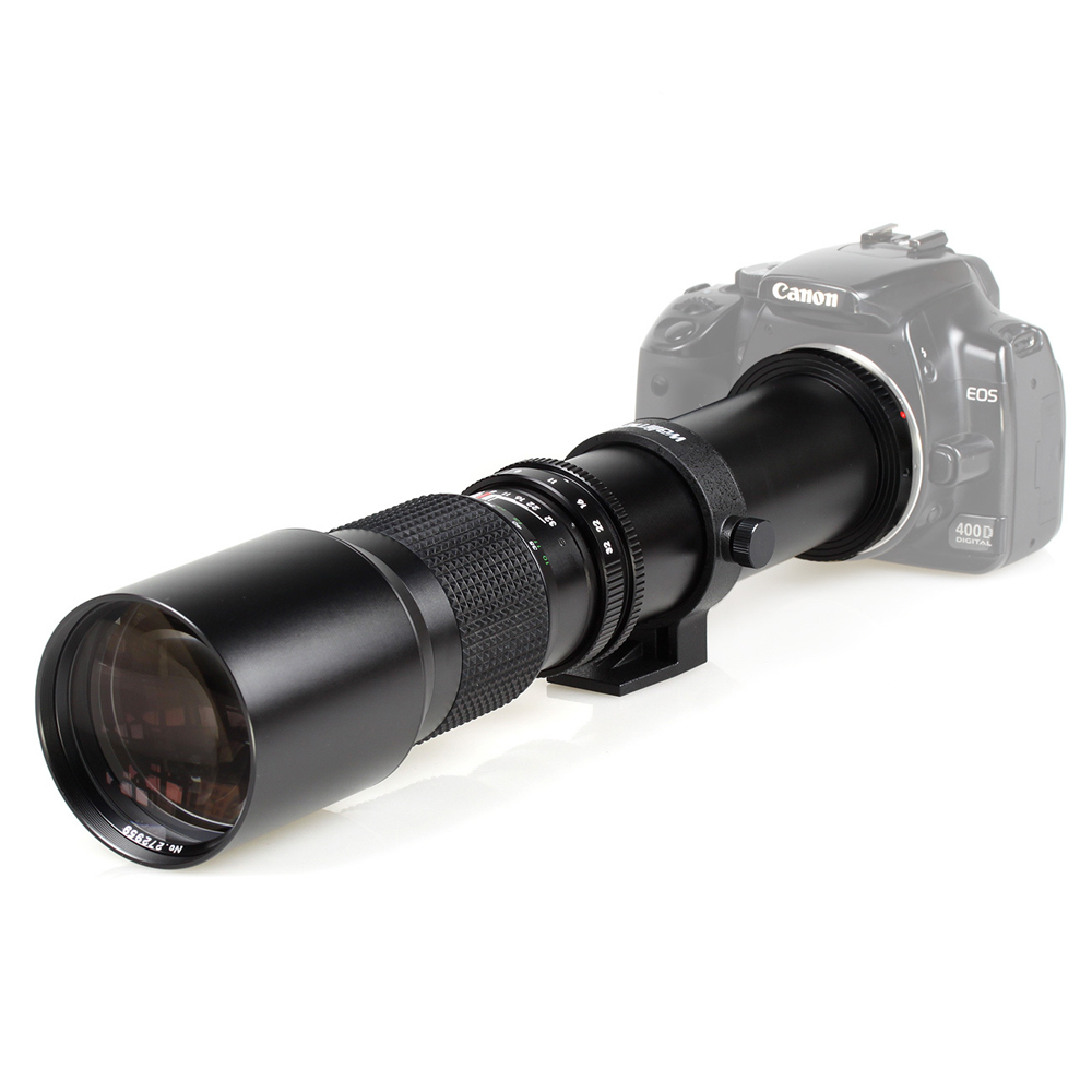 Lightdow 500mm F8.0 objectif téléobjectif manuel avec T2-Cannon T monture pour Canon T4i T3i T3 7D 60Da T2i XTi XSi XS appareil photo reflex numérique