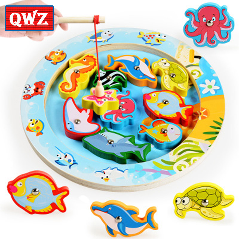 QWZ Magnetic Double Lever Fishing Toy Boy Girl Wooden Fish Game Fishing Rod Kids Early Educational Toy Children Birthday Gift