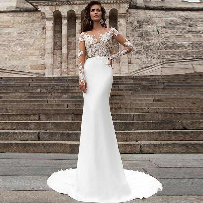 LORIE Mermaid Wedding Dresses Turkey 2019 Scoop Appliques White Lace Long Sleeve Bride Dress Custom Made Vintage Wedding Gown
