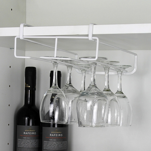 New Wine Cup Glass Holder Hanging Drinking Glasses Rack Under Cabinet  Storage Organizer Double Row Rack