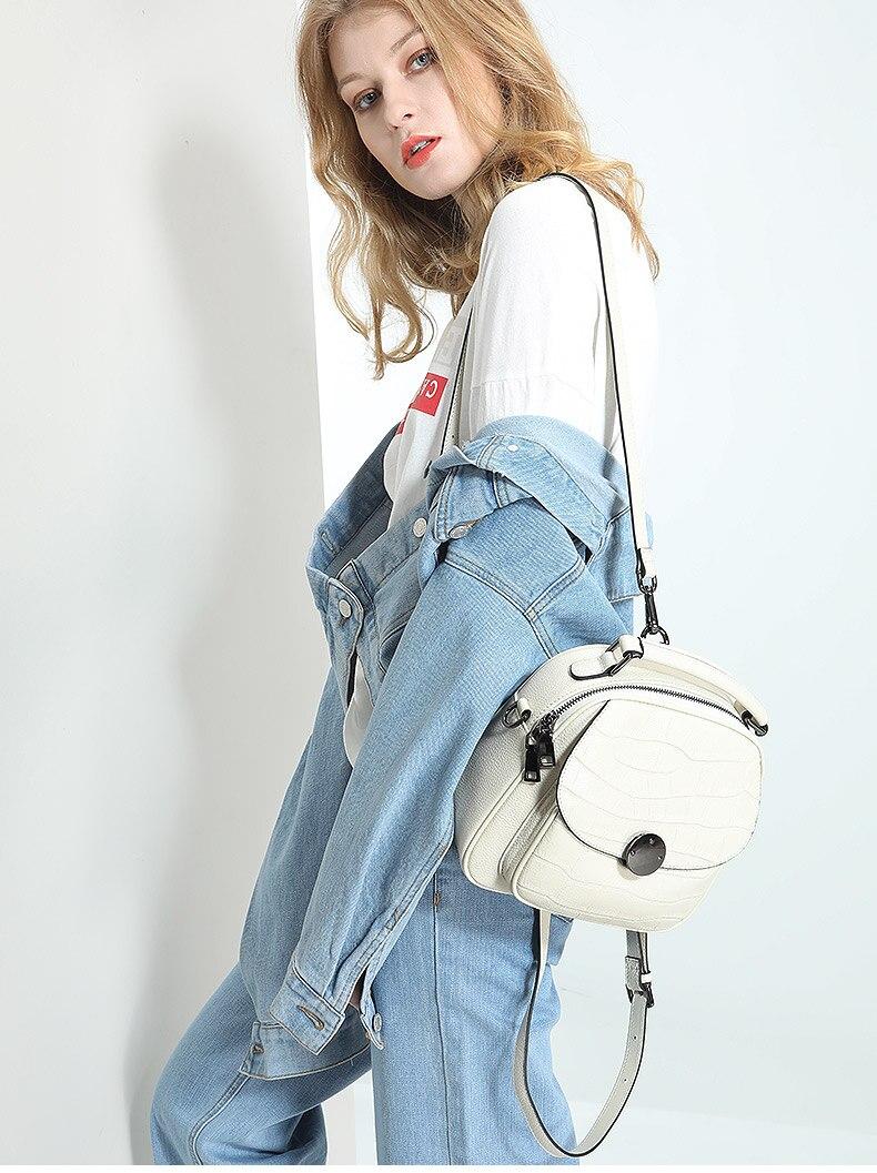 2019 nouveau luxe mode en cuir véritable femmes sac à dos nouveau sauvage femme sac à bandoulière blanc en cuir de vachette dames petits sacs à dos - 2