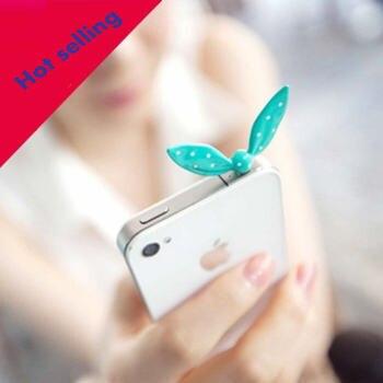 Earphone Limited Dust Plug Dachshund 2016 New Cute Colorful Rabbit Ear Bowknot Dustproof Plug Caps Cell Phone Accessories