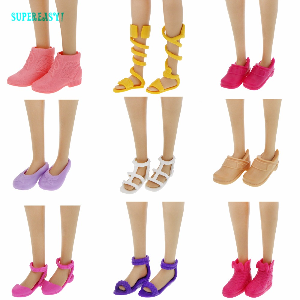 Fashion Modern Flat Shoes High Quality Cute Sandals Mixed Style Colorful Platform Shoes For Barbie Doll Accessories Kids