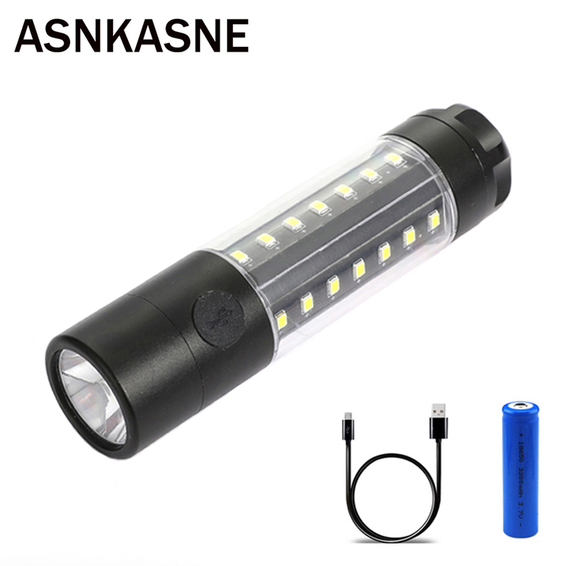 ASNKASNE NEW Powerful CREE T6 LED Flashlight USB Rechargeable Outdoor Camp Hunt Light Lamp Torch Tactical lanterna USE 18650