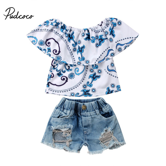 95e00ab02fb8 Pudcoco 2018 Summer Kids Baby Girl Top T shirt+Ripped Jeans Denim Shorts  Casual Outfits Printed Baby s Set Blue 0-4T