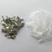 50 комплектов 6,3 мм с прозрачная оболочка вставленная пружина 6,3 мм Разъем Терминал Faston с изолятором для провода