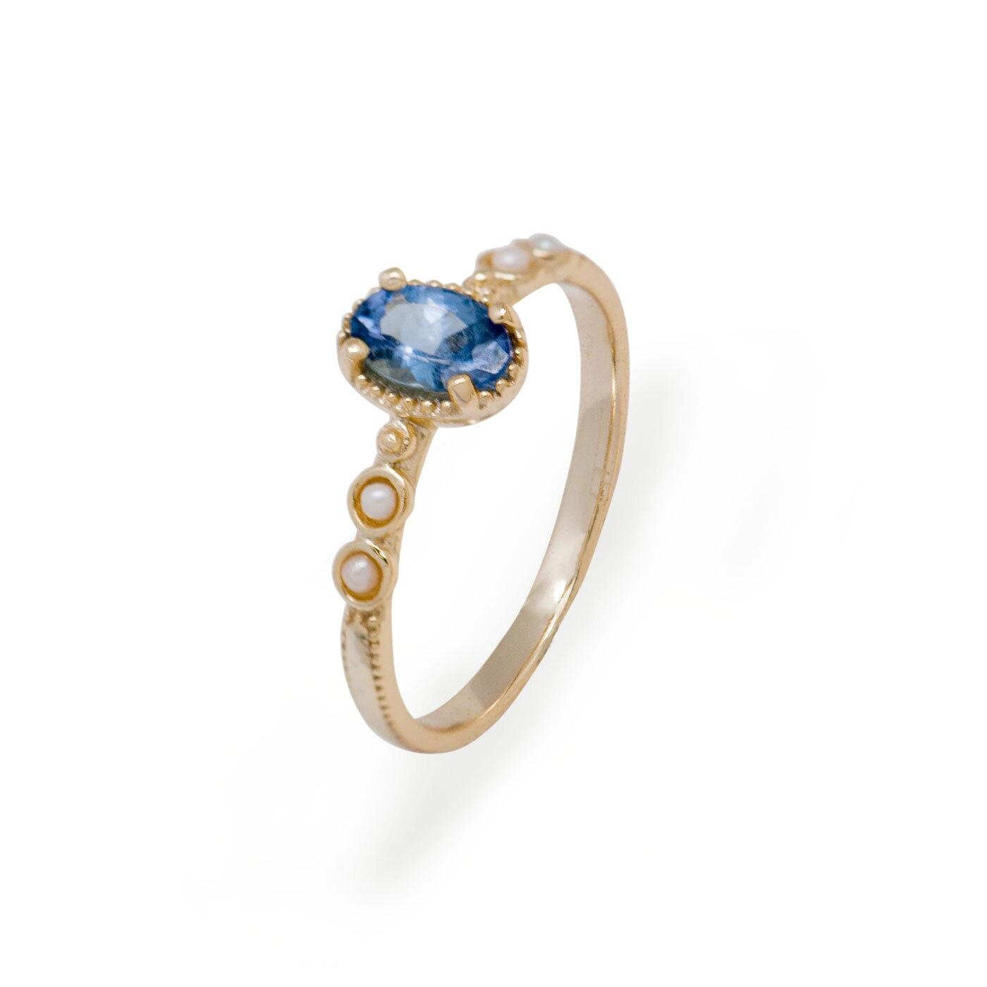 Gladioli Vintage Natural Tanzanite Sterling Silver Birthstone Pearl Ring Band