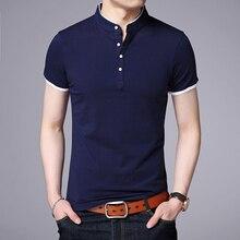 Мужская приталенная рубашка поло с коротким рукавом и воротником стойкой