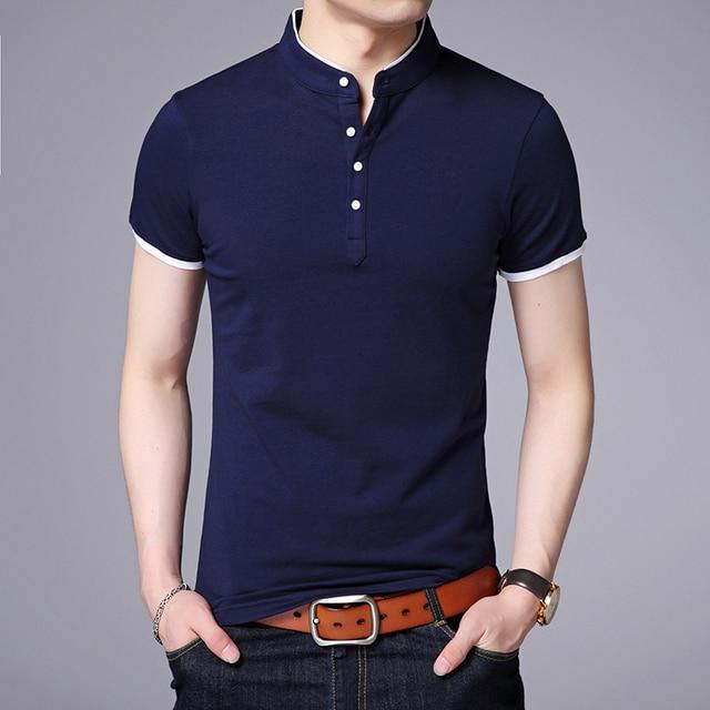 2019 אופנה מותגים חדש קיץ חולצת פולו Mens מוצק צבע קצר שרוול Slim Fit צווארון עומד Poloshirt מזדמן גברים של בגדים