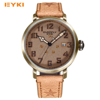 EYKI Retro Classic Antique Bronze Dial Exquisite Screw Crown Unique Week Design Luxury Watch Men Famous