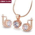 ZYS169 Crown  Rose Gold Platinum Plated Jewelry Necklace Earring Set Rhinestone Made with 925 sterling silver  Crystals