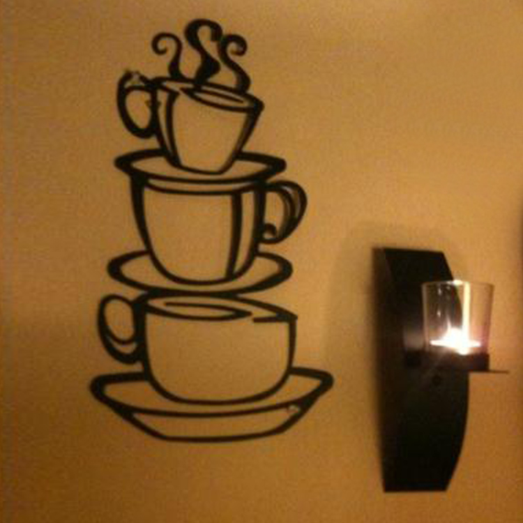 Hot Selling Removable Coffee House Cup Vinyl Wall Art Metal Mug Wall Sticker Decals Diy Kitchen