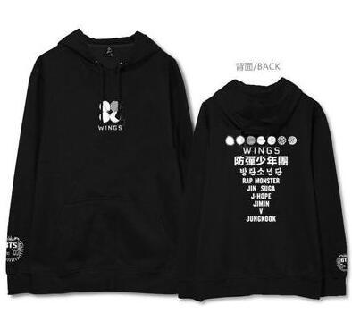 Autumn winter kpop bts fleece hoodie for fans supportive bangtan boys 2nd album wings logo/member name printing sweatshirts