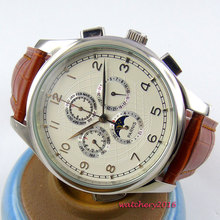 New 44mm parnis White Dial Moon Phase Date Day Stainless steel case Brown Leather strap Automatic Self-Wind Movement Men's Watch