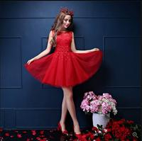 Новое прибытие 207 короткие маленький красный line homecoming платье без рукавов hollow вернуться сексуальная маленькой девочки театрализованное