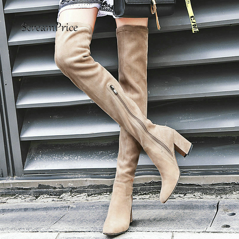 Women Suede Comfortable Square Heel With Side Zipper Over The Knee Boots Fashion Pointed Toe Thigh Boots Black Wine Red
