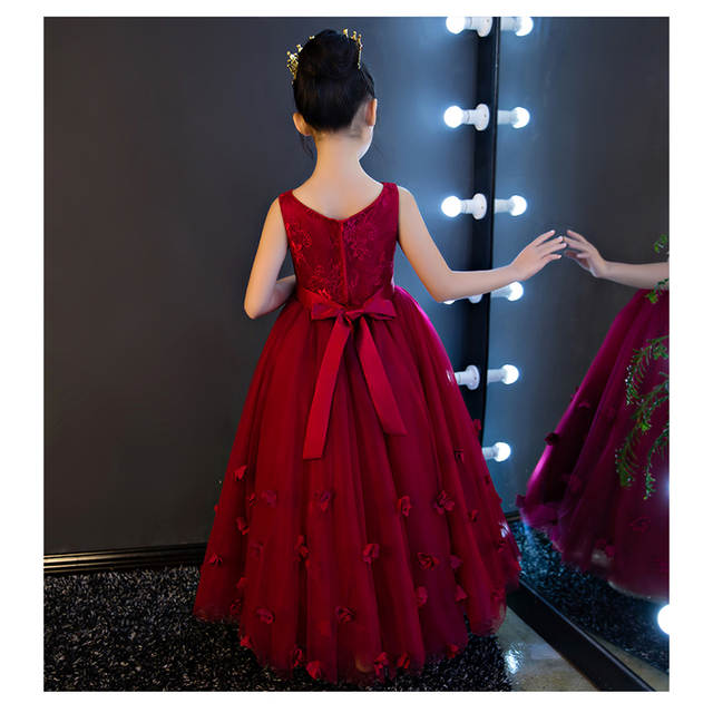 dc34cf07950 High Quality Wine Girls Piano Performance Dress Newest Design Girl Clothes  Party Prom Dress Sleeveless Kids