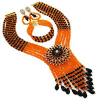 Boho Bohemian Ethnic Jewelry Sets Orange Black Multi Layers Statement Necklace African Beads Jewelry Set Women 6C SDLS 007