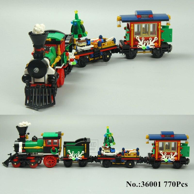 H & HXY EN STOCK 36001 770 pcs Vacances D'hiver Train Briques de Construction Blocs Nouvelle année LEPIN Cadeau Jouets Enfants éducatifs 10254